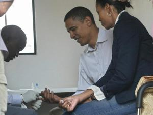 The President and First Lady getting the HIV test.